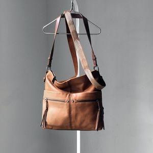 THE SAK boho cognac leather crossbody handbag tote